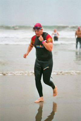 Dan Exiting Water At LA Triathlon